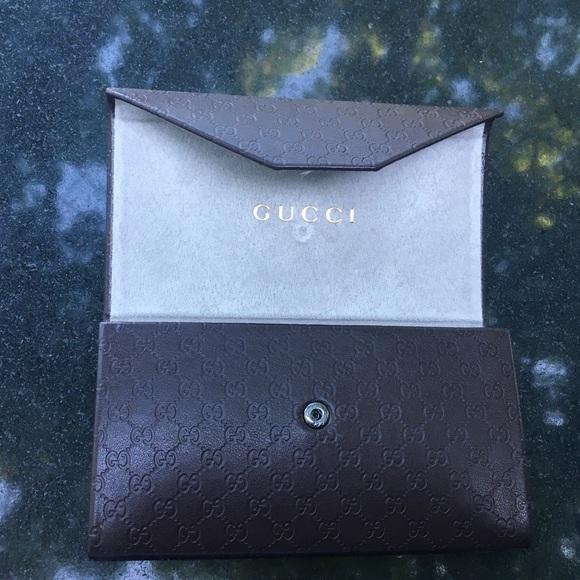 Gucci Sunglasses case foldable brown button